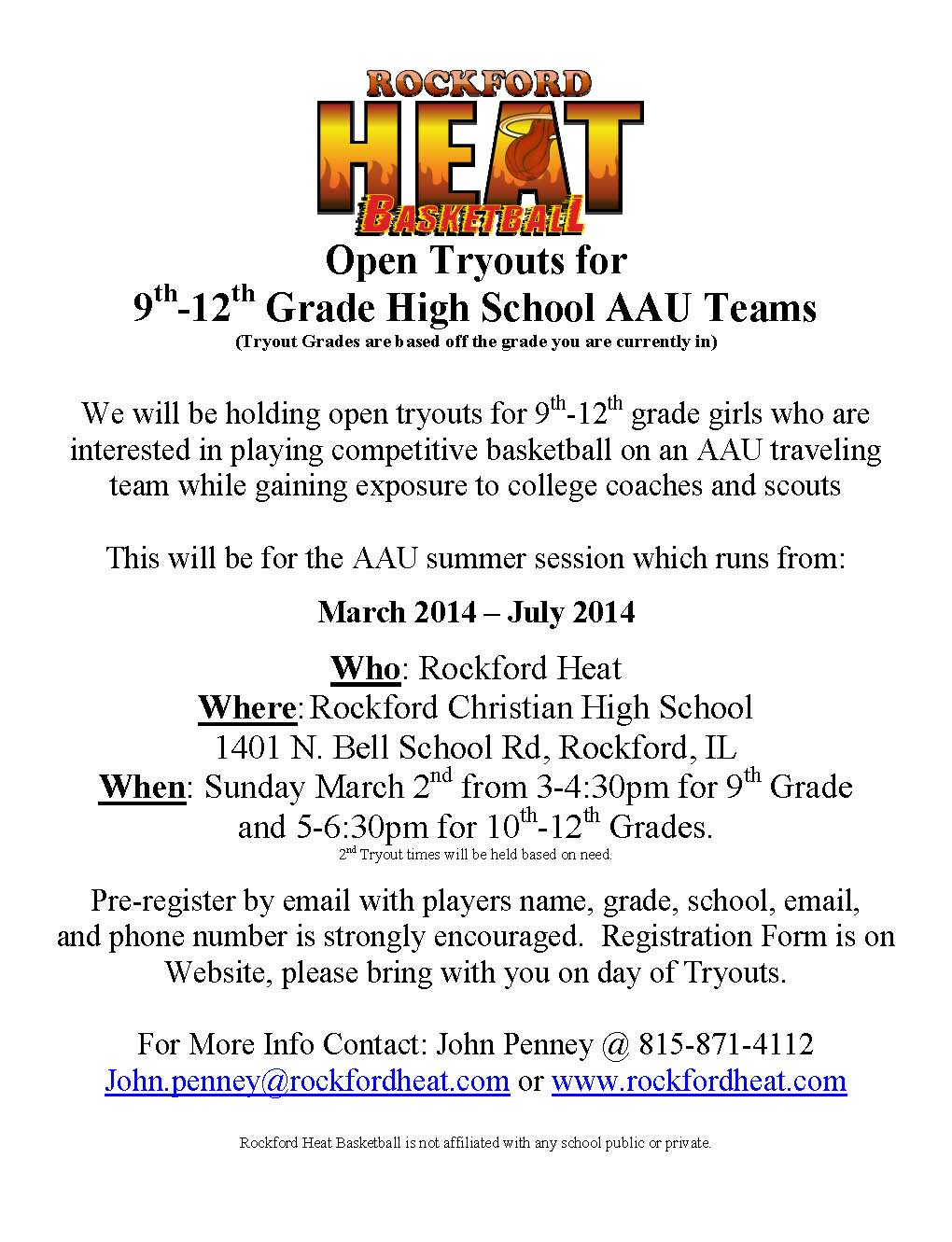 Rockford heat high school team tryouts dates announced rockford all high school teams will participate in aauncaa certified events that help your chances of being seen or recruited xflitez Choice Image